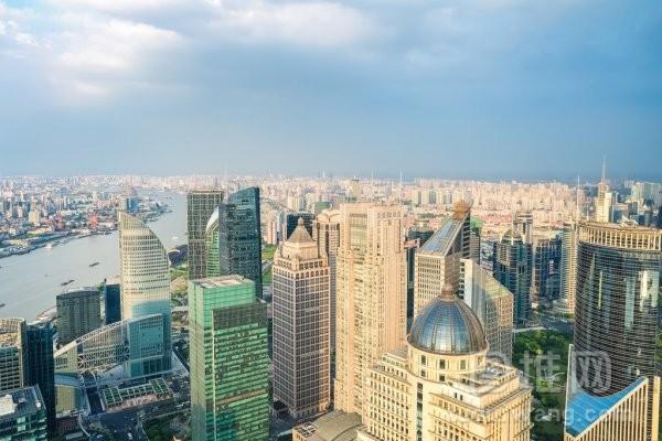 上海的天际线鸟瞰图