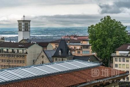瑞士洛桑屋和城市风光